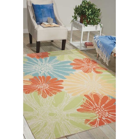 Ogunquit Indoor/Outdoor Abstract Floral Modern Rug by Havenside Home