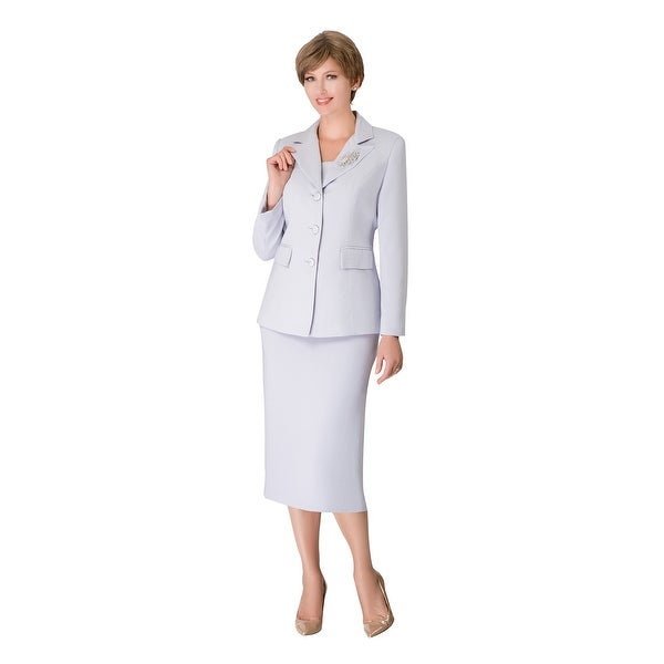 Giovanna Signature 2pc Notch Collar 3-button Skirt Suit w/ Brooch. Opens flyout.