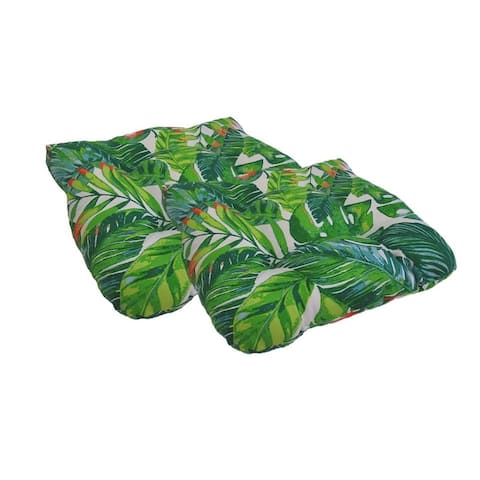 Indoor/ Outdoor Tropical Leaves Seat Cushions (Set of 2)