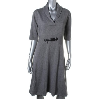 Calvin Klein Womens Knit Buckle Wear to Work Dress - M