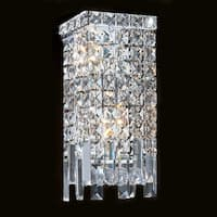 """Worldwide Lighting W23621C6 Cascade 2 Light 6"""" ADA Wall Sconce in Chrome with Clear Crystals"""