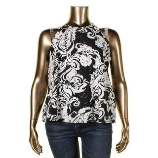 Lauren Ralph Lauren Womens Pullover Top Printed Scoop Neck