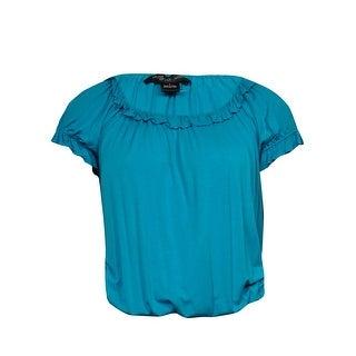 August Silk Women's Ruffled Knit Jersey Peasant Top