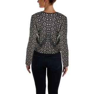 DKNY Womens Pullover Top Printed Wool Blend