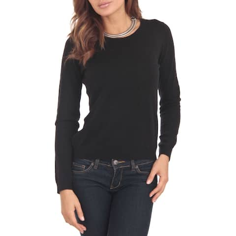 Cashmere Blend Black Crewneck Sweater