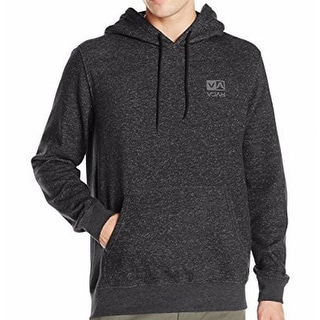 RVCA NEW Charcoal Black Mens Size Small S Logo Pullover Hooded Sweater