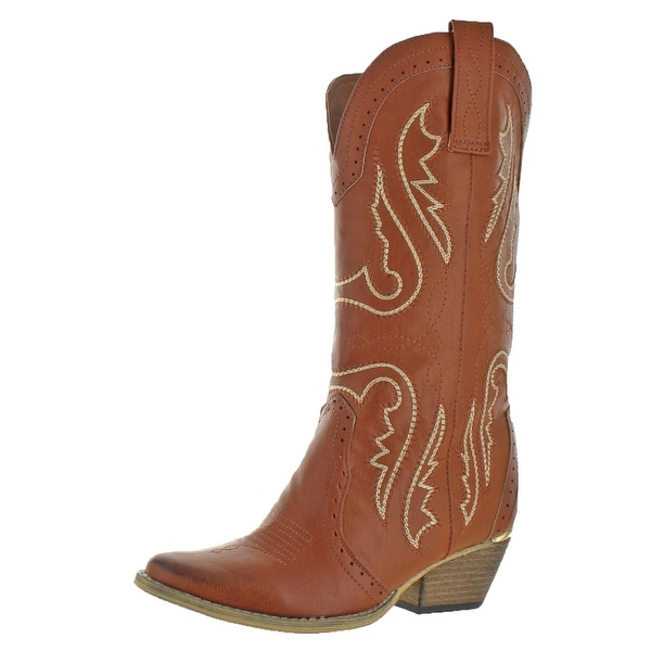 BROWN TAN FAUX LEATHER SIZE 6 7 8 9 10 11 12 WESTERN COWBOY PULL ON BUCKLE BOOTS