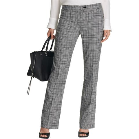 Calvin Klein Womens Plaid Dress Pants, Grey, 4P