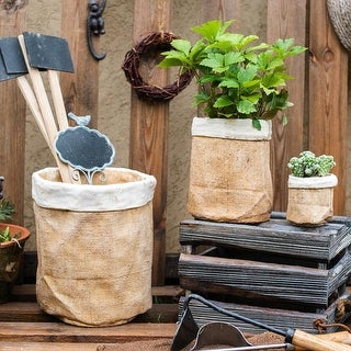 Link to RusticReach Paper Bag Style Concrete Garden Pot Similar Items in Barrel Planters