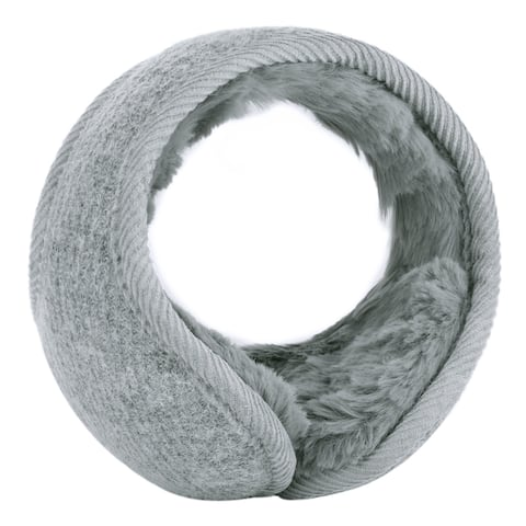 Warm Foldable Winter Knit Earmuffs for Women Men Gray-3
