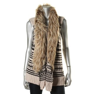 BB Dakota Womens Knit Faux Fur Vest