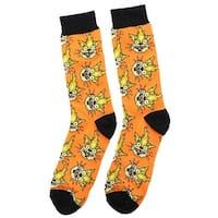 Rick and Morty OSFM Crew Socks, 1 Pair, Squanchy The Cat - Orange