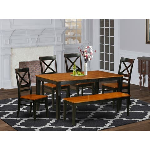 6 PC Dining set with bench-Kitchen and 4 Chairs Plus bench (Pieces Option)