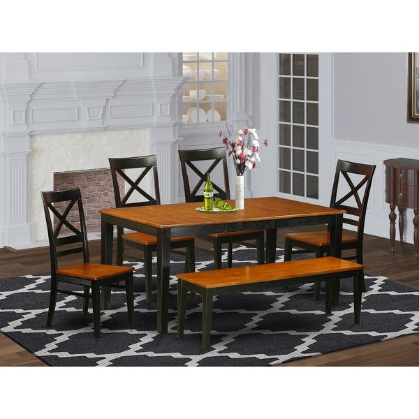 Shop Black Friday Deals On NIQU6-W 6 PC Dining Set With Bench-Kitchen And 4 Chairs Plus Bench - Overstock - 17676429