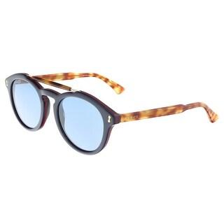 Gucci GG0124S 003 Blue Havana Round Sunglasses - 50-22-145