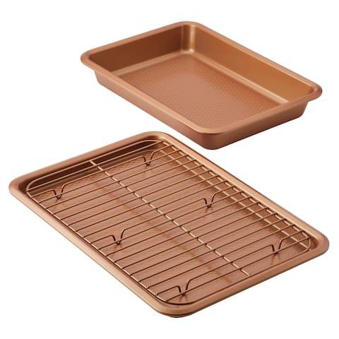 Ayesha Bakeware Cake Pan & Cookie Pan with Cooling Rack Set, 2-Piece