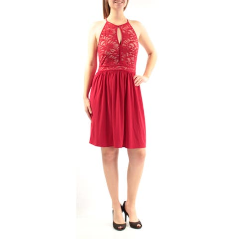 MORGAN & CO Womens Red Lace Sleeveless Halter Above The Knee Fit + Flare Party Dress Juniors Size: 1