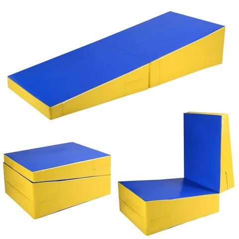 Costway Folding Incline Mat Slope Cheese Gymnastics Gym Exercise Aerobics Tumbling Wedge