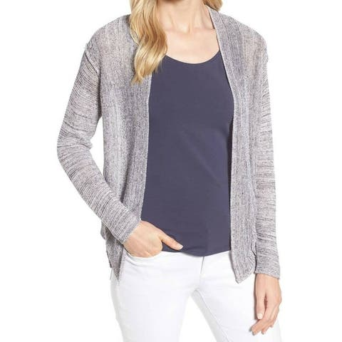Nic + Zoe Blue Womens Size Large L Open-Front Cardigan Sweater