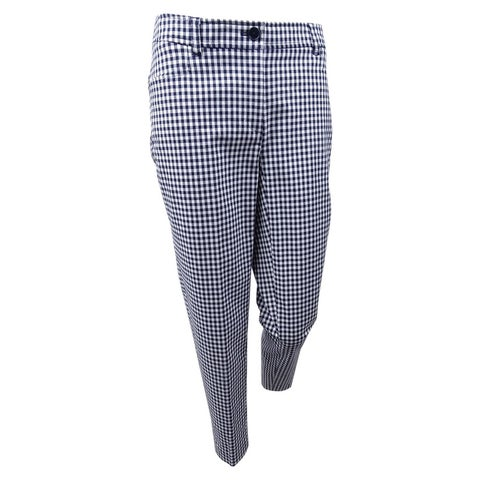 Anne Klein Women's Gingham Tailored Pants - Eclipse/Optic White
