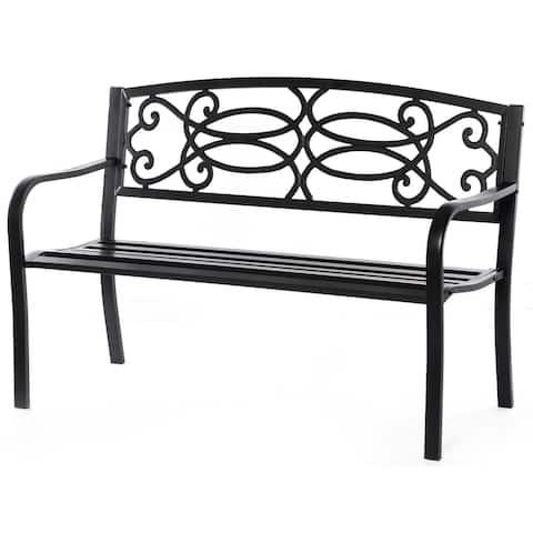 Black Outdoor Steel Park Bench Cast Iron Scrollwork Backrest Garden Lawn Decor