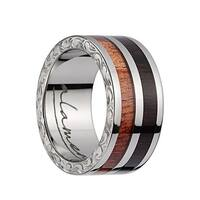 Titanium Wedding Band With Pink Ivory/Ebony Wood 2‐Tone Inlay, Polished Edges, & Side Pattern - 10mm