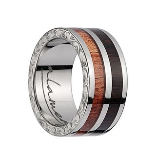 Titanium Wedding Band With Pink Ivory/Ebony Wood 2Tone Inlay, Polished Edges, & Side Pattern - 10mm (Option: 3.5)