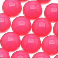 Czech Glass Round Party Beads 10mm - Neon Pink (1 Strand / 18 Beads)