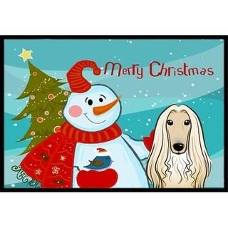 Carolines Treasures BB1864MAT Snowman With Afghan Hound Indoor & Outdoor Mat 18 x 27 in.