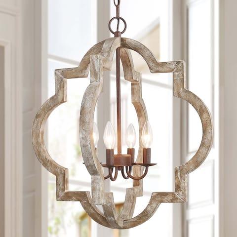 The Gray Barn Hester Gulch 4-light Farmhouse Lantern Chandelier Pendant for Dining Room