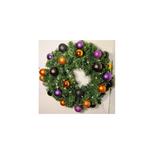 "Christmas at Winterland WL-GWSQ-02-HALL-LWW Halloween 24"" Wide 200 Point Pine Blend LED Lit Wreath with Ball Ornament Accents"