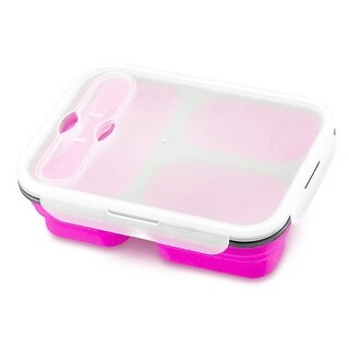 Lunch Kit, 3pc Meal Prep Containers Silicone Collapsible & Spork Utensil, Pink