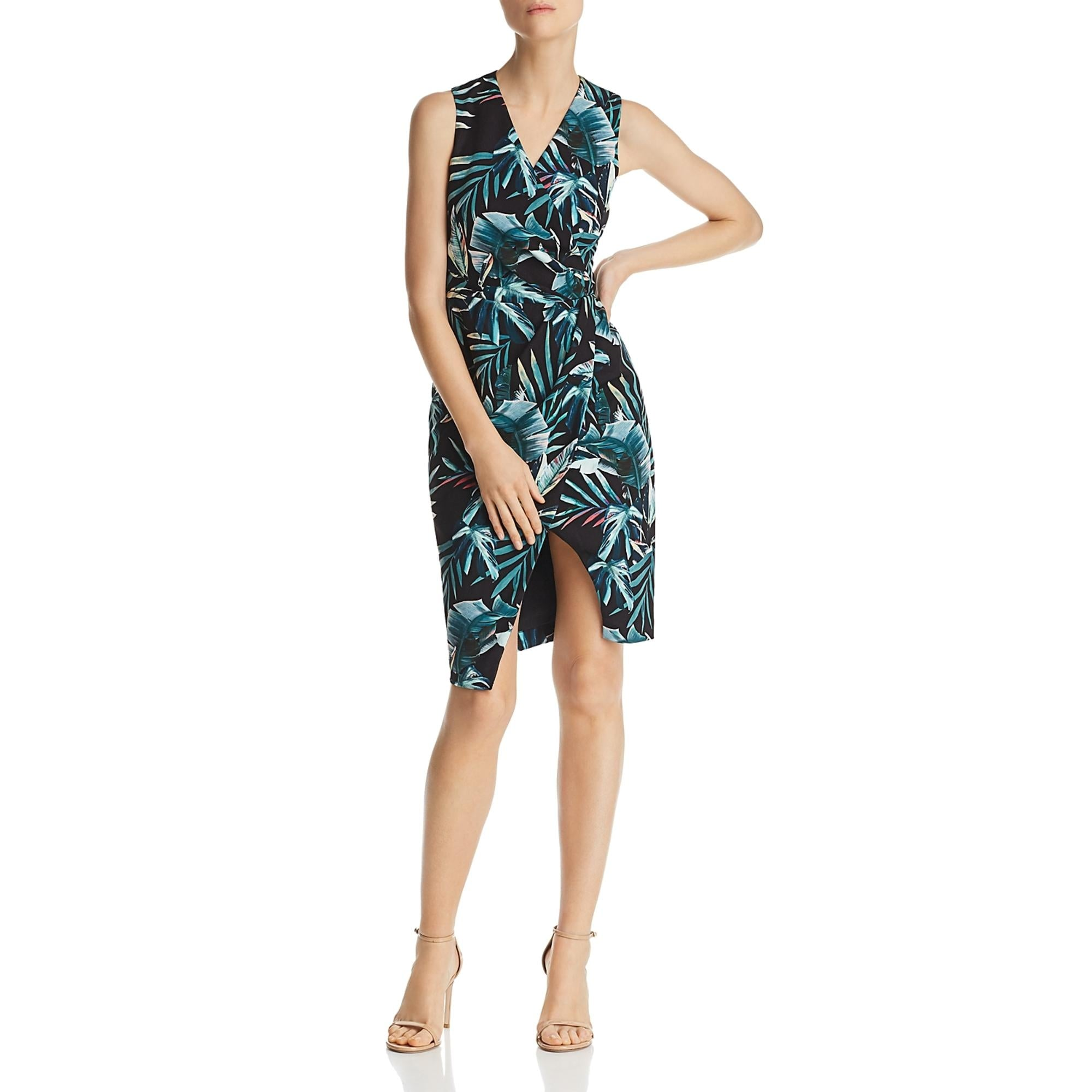 Black Halo Womens Nora Cocktail Dress Printed Faux Wrap Midnight Print Overstock 31057075