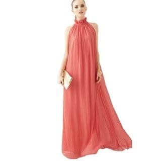 Summer Chiffon Ruffle Neck Sleeveless Evening Ball Gown Long Maxi Dress