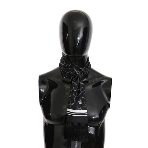 Dolce & Gabbana Black Silk Crown Flowers Fringes Shawl 15x140cm Men's Scarf - one-size
