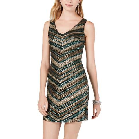 As U Wish Womens Juniors Mini Dress Sequined Shiny