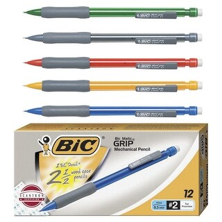 BIC Matic Grip Latex-Free Mechanical Pencil, No 2, 0.5 mm HB Tip, Assorted Color, Pack of 12