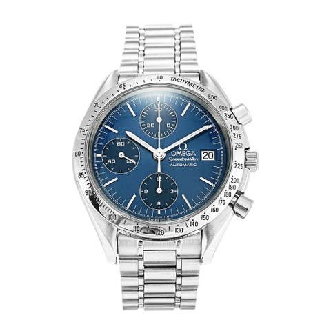 Omega Men's 3511.80.00 'Speedmaster' Chronograph Stainless Steel Watch - Blue