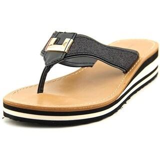 Tommy Hilfiger Roesia Women Open Toe Canvas Black Flip Flop Sandal
