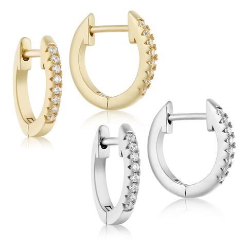 Sterling Silver Cubic Zirconia, Pave Huggie Hoop Earrings- Lusoro