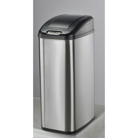 Nine Stars DZT-50-6 13.2 Gallon Rectangle Shaped Trash Can with Infrared Motion - STAINLESS STEEL - N/A