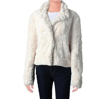 Karen Kane Womens Cropped Jacket Faux Fur Long Sleeves