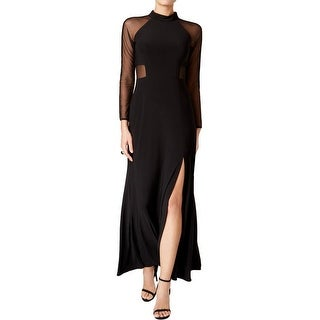Nightway Plus Size Mesh Inset Long Sleeve Evening Gown Dress