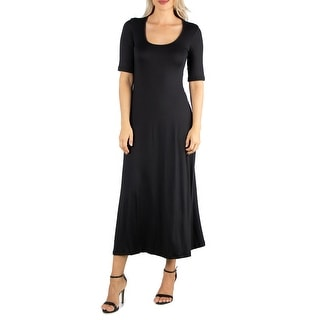 Link to 24seven Comfort Apparel Womens Casual Maxi Dress with Sleeves R002680 Similar Items in Dresses