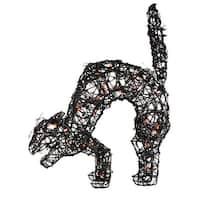 """22"""" Pre-Lit Spooky Black Rattan Cat Halloween Outdoor Decoration - Orange Lights"""