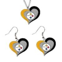 Pittsburgh Steelers NCAA Swirl Heart Pendant Necklace And Earring Set Charm Gift