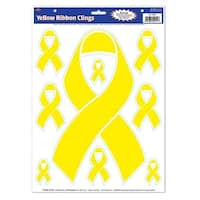 Club Pack of 108 Patriotic Yellow Ribbon Peel 'N Place Decorative Window Clings 17""
