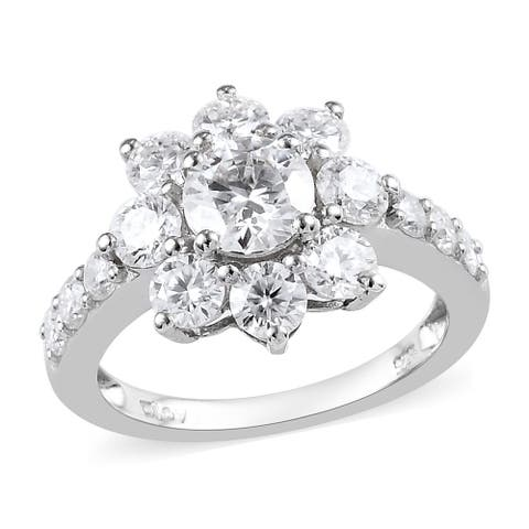 Shop LC Platinum Over 925 Sterling Silver Moissanite Halo Ring Ct 9.6