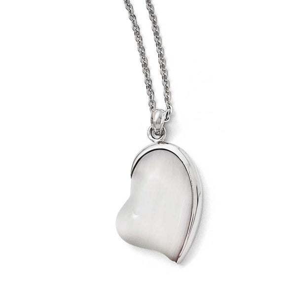 Chisel Stainless Steel Polished White Cat's Eye Heart Necklace - 20 in