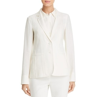 Link to Lafayette 148 New York Womens Vangie Two-Button Blazer Silk Blend Office Wear - Cloud Similar Items in Suits & Suit Separates